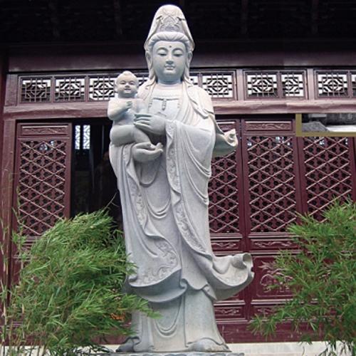 传统寺庙雕刻建筑除了汉白玉石材的石雕观音外,还有什么石材的观音雕像?