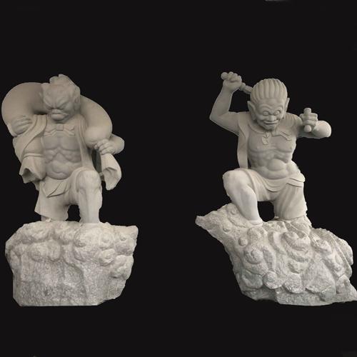 寺庙雕刻哼哈二将雕像